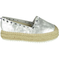 Katharine Silver Espadrilles Summer Comfy Shoes