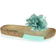 Kathrynne Green Flower Casual Comfy Sliders