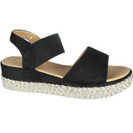 Kathy Black Elastic Strap Summer Sandals
