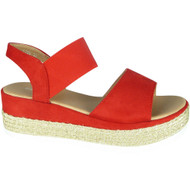 Kathy Red Elastic Strap Summer Sandals