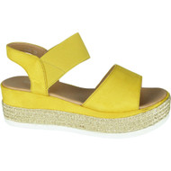 Kathy Yellow Elastic Strap Summer Sandals