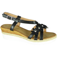 Kattie Black Summer Hessian Sandals