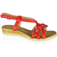 Kattie Red Summer Hessian Sandals