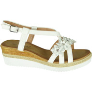 Kattie White Summer Hessian Sandals