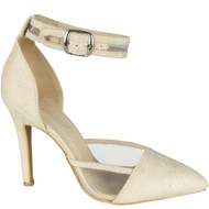 Kathlene Beige Pointed Party Bridal Sandals