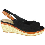 Kathlyn Black Slingback Espadrille Sandals