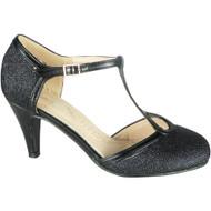 Kelley Black Party Glitter Wedding Sandals