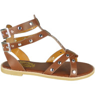Kristina Brown Flat Studded Summer Sandals