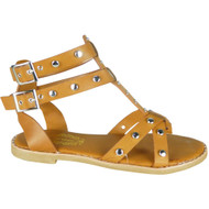Kristina Camel Flat Studded Summer Sandals