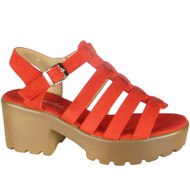 Kristine Red Peep Toe Strappy Summer Sandals