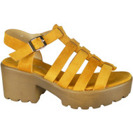 Kristine Yellow Peep Toe Strappy Summer Sandals