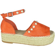 Kristen Orange Flatform Espadrille Summer Sandals