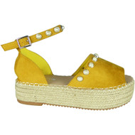 Kristen Yellow Flatform Espadrille Summer Sandals