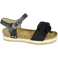 Krista Black Summer Comfy Hessian Sandals