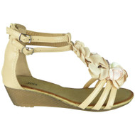 Laurie Beige Gladiator Zip Summer Sandals