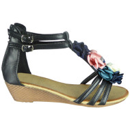 Laurie Black Gladiator Zip Summer Sandals
