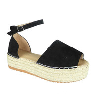 Laureen Black Peep Toe Summer Sandals
