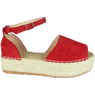 Laureen Red Peep Toe Summer Sandals