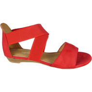 Laurel Red Elastic Peep toe Sandals