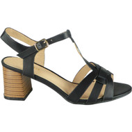 Lenora Black T-Bar Summer Casual Sandals