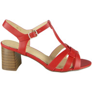 Lenora Red T-Bar Summer Casual Sandals
