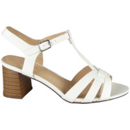Lenora White T-Bar Summer Casual Sandals