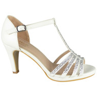 Leonora White Wedding Bridal  Party Sandals