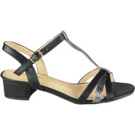 Leonore Black Party Casual T- Bar Sandal