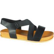 Lesley Black Elastic Strap Peep Toe Sandals