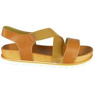Lesley Camel Elastic Strap Peep Toe Sandals
