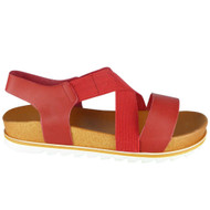 Lesley Red Elastic Strap Peep Toe Sandals