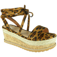 Amanda Leopard Lace Up Espadrilles Wedge Sandals