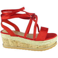 Amanda Red Lace Up Espadrilles Wedge Sandals
