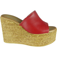Leticia Red Peep Toe Comfy Sliders