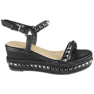 Lindsey Black Comfy Peep Toe Bling Sandals