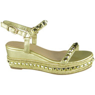 Lindsey Gold Comfy Peep Toe Bling Sandals