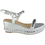 Lindsey Silver Comfy Peep Toe Bling Sandals