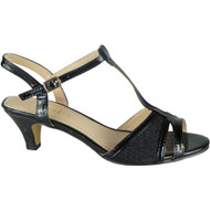 Lora Black Wedding Peep Toe Sandals