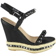 """ABIGAIL"" Black New Studded Ankle Strap Wedge Sandals"