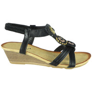 Eulalia Black Elastic Summer Comfy Sandals