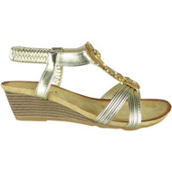 Eulalia Gold Elastic Summer Comfy Sandals
