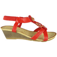 Eulalia Red Elastic Summer Comfy Sandals