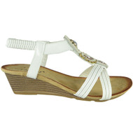 Eulalia White Elastic Summer Comfy Sandals