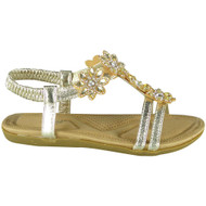 Lallie Gold Elastic Summer Comfy Sandals