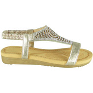 Emilie Gold Diamante Summer Comfy Sandals
