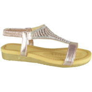 Emilie Pink Diamante Summer Comfy Sandals