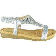 Emilie Silver Diamante Summer Comfy Sandals