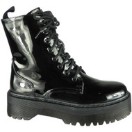 Evelina Black Patent Ankle Chunky Goth Punk Shoes