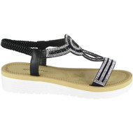 Georgina Black Summer Comfy Elastic Sandals
