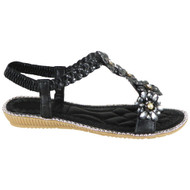 Marietta Black Bling Summer Comfy Sandals